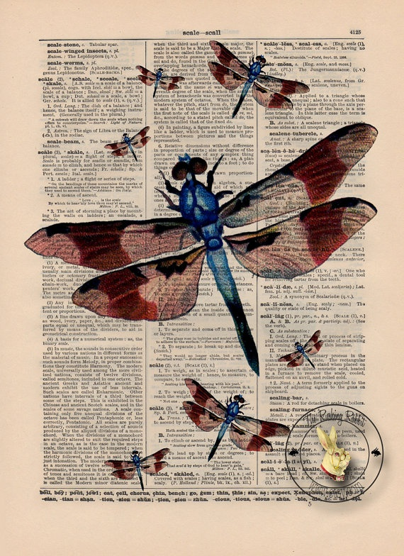@Lesa M Dragonfly Dictionary Art Print on Dictionary Page Vintage Paper (3B76)Vintage Paper, Art Inspiration Tutorials, Dragonflies Dictionary, Art Prints, Vintage Dragonflies, Paper 3B76, Dictionary Art