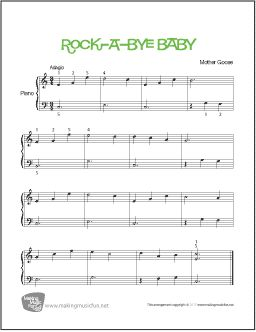 Rock-a-Bye Baby | Easy Piano Sheet Music (Digital Print) - Visit MakingMusicFun.net for free sheet music, music theory worksheets, and composer resources.