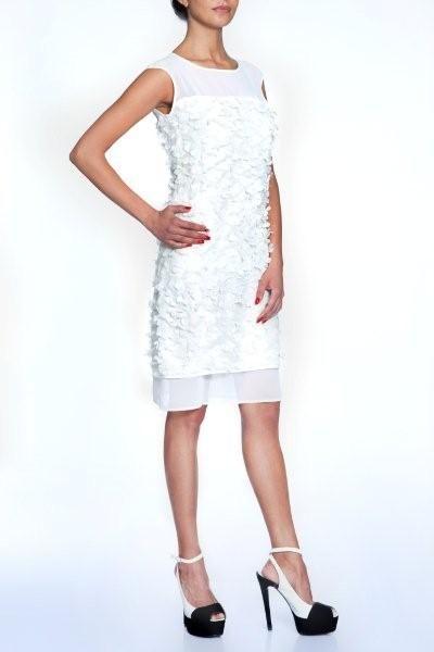 White sleeveless summer dress with chiffon flowers  And black-white high heel sandals
