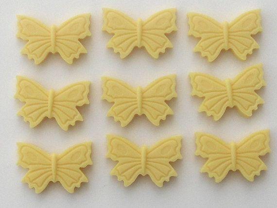 Conjunto de 20 mariposas amarillas - adornos de torta de azúcar comestible