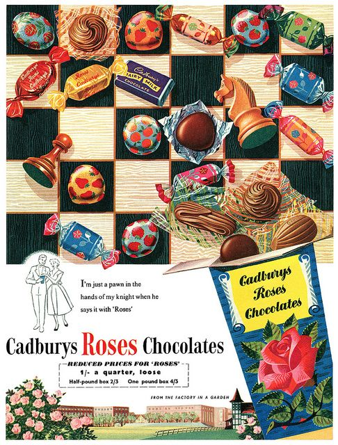 Cadbury's Roses advertisement, 1956. #vintage #candy #chocolates #food #ads