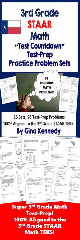 3rd grade STAAR math test-prep practice problem sets, 16 practice sets with 96 math practice problems 100% aligned to the 3rd Grade STAAR TEKS!   Sixteen practice sets of rigorous engaging multiple choice test-prep math problems covering all of the 4th grade math STAAR TEKS! Each set has six problems.   Great for a daily review, small group instruction, tutoring, homework or even combine them for a larger test.  I've included a recording sheet for your answers.$