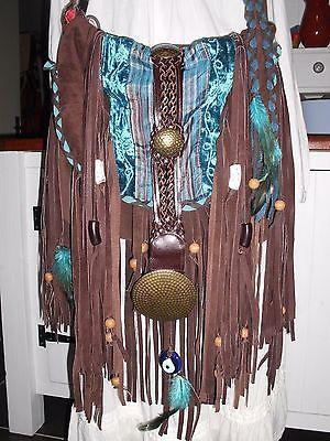 Handmade Brown Leather Boho Gypsy Hippie Fringe Feather Torquoise Handbag Purse