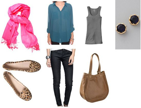 Leopard loafers, skinny jeans, and silky blouse