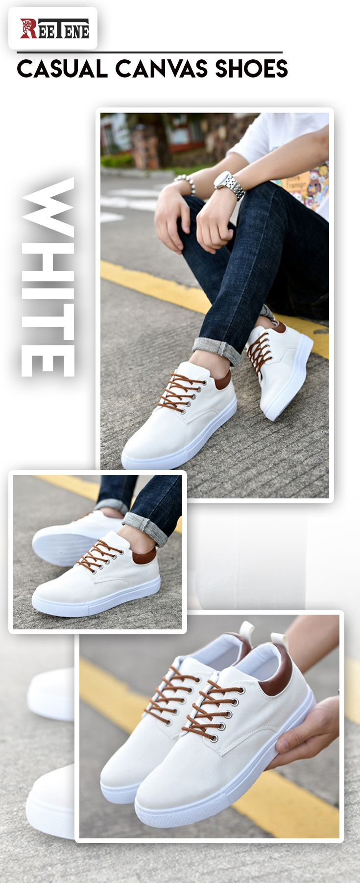 102d4052e0 Men s comfortable white clean canvas shoes - Men s fashion style brand  attire casual affordable accessories street