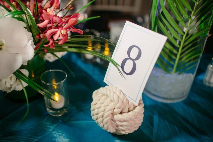 Nautical Wedding - 12 Nautical Rope Table Number Holders -Set of 12 little wedding knots -  Manila or Cotton by KarensWeddingShop on Etsy https://www.etsy.com/listing/184828592/nautical-wedding-12-nautical-rope-table