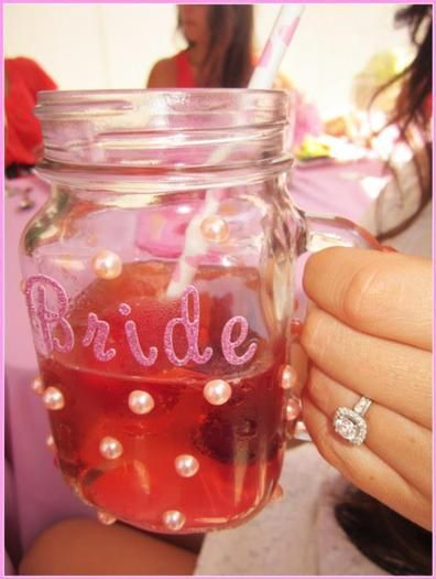 Cute 'Bride' mason jar for the bridal shower! I like the idea...we could do different decor:)