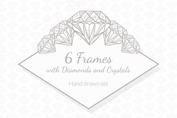 6 Frames with Diamonds and Crystals by Lianella's Shop on Creative Market