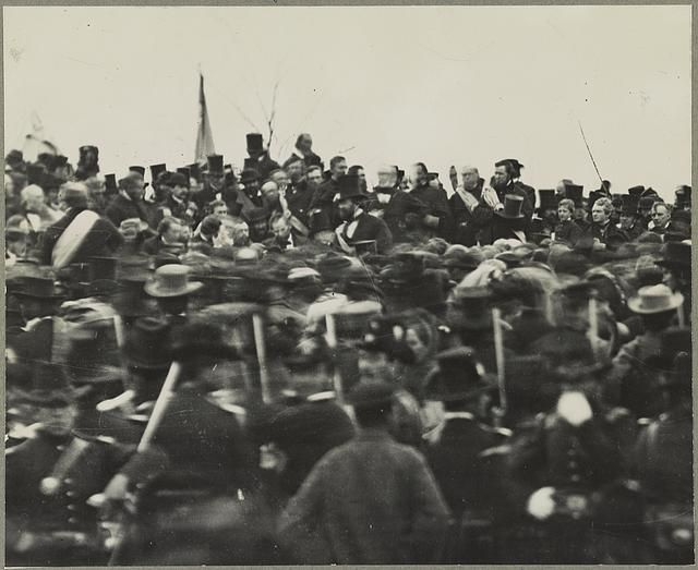 November 19, 1863: President Abraham Lincoln delivered the Gettysburg Address at the dedication of a military cemetery in Gettysburg, Pennsylvania during the American Civil War. This is the only known photograph of Lincoln at Gettysburg.