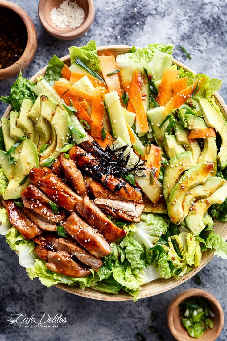 Teriyaki Glazed Chicken Salad complete with avocado, cucumbers, carrots and thin strips of seaweed for sushi lovers! With an easy teriyaki dressing!
