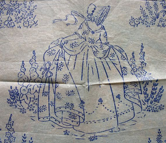 Vintage Embroidery Patterns Iron On   Vintage Iron on Embroidery Transfer - Crinoline Lady Country Garden