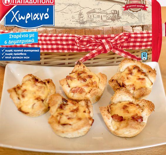 """Ατομικές Κις-Λορέν με Ψωμί σε Φέτες """"Xωριανό"""" ΠΑΠΑΔΟΠΟΥΛΟΥ Σταρένιο με 6 Δημητριακά"""