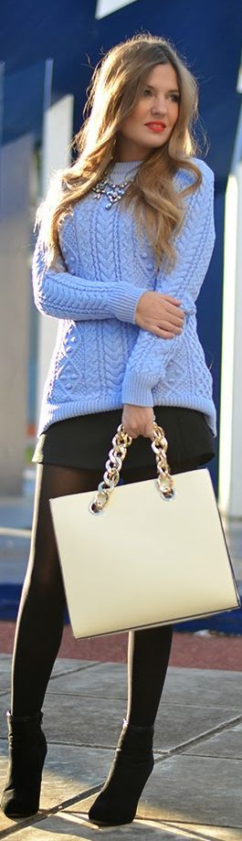 This sky blue sweater looks so warm! Would love to wear this right now! The whole outfit is cute.