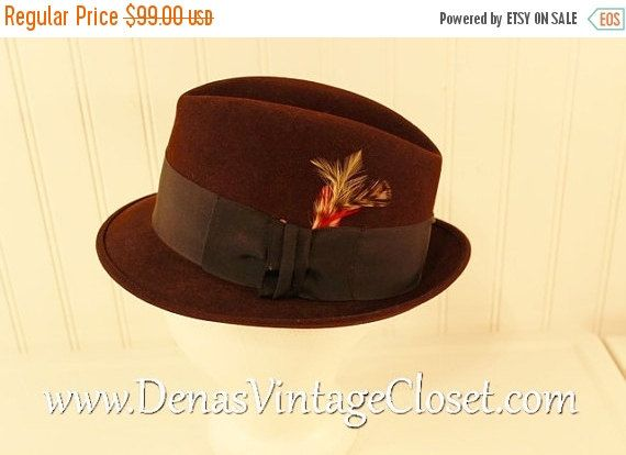 50% OFF New Years Sale Vintage Brown Felt Royal Stetson Fedora Hat Men's SZ 6 7/8 Red Feather