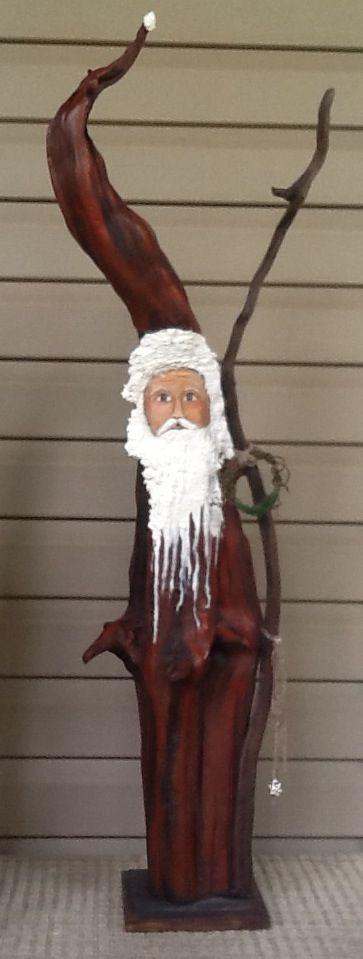 Hand painted driftwood cedar Santa. Stands  3 1/2 feet tall. $145.00. SOLD
