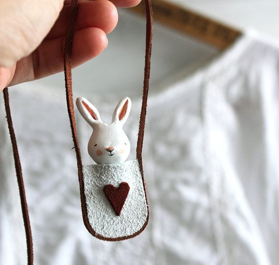 Bunny necklace  Paper clay miniature white rabbit от sweetbestiary