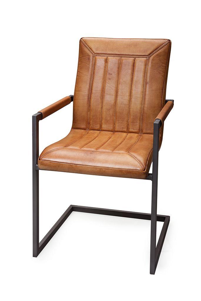 Vintage stoel, buffel leer / staal. Te koop bij Zitze.nl Van 289 Nu 209