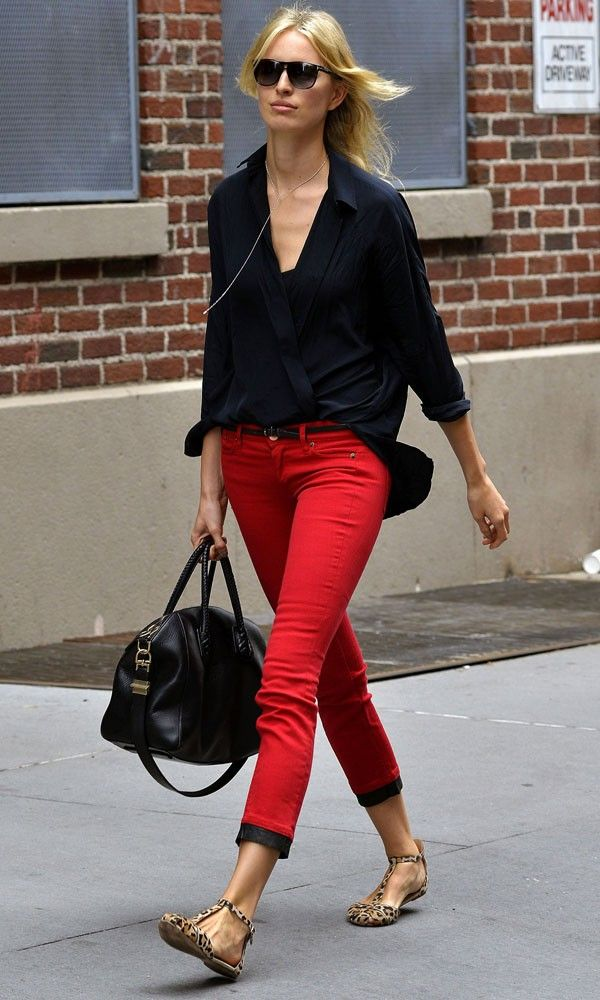 Red Pants Work Outfit