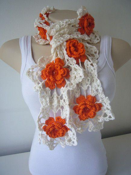 Crochet Flower Scarf Bellissime collane grandi senza schema, ma comprensibili!