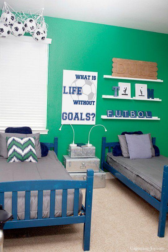 Inspiración para decorar un dormitorio de temática Fútbol : Crea un espacio temático dedicado al fútbol en el dormitorio infantil. Compartimos estas imágenes para te sirvan de inspiración. La clave de este ambiente