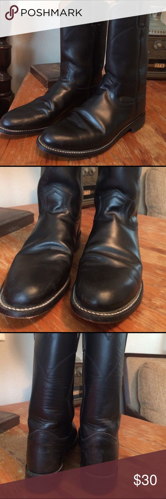 Justin black boots. Pre owned Justin black boots. Registration number 33532S061. Size 61/2B Justin Boots Shoes Heeled Boots