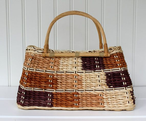 Woven Basket Purse  Patchwork Design with Handle  by catnapcottage
