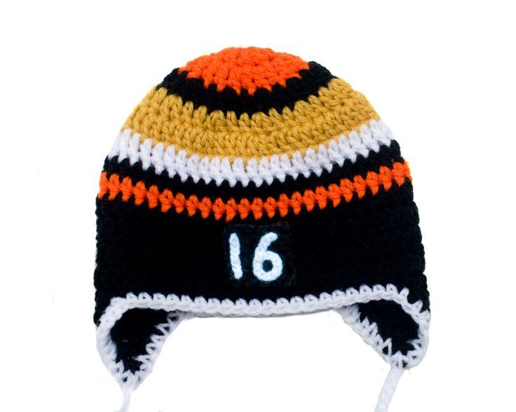 BABY HOCKEY BOYS, Baby Hockey Hat, Boy Hockey Hat, Crochet Black Gold Ducks Beak Orange, Newborn Knit Hockey, Hockey Number Hat, Hockey Prop by Grandmabilt on Etsy