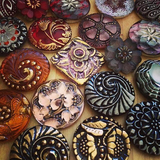 Vintage Button Necklace - Scarlet Blossom Czech Glass | Compass ...