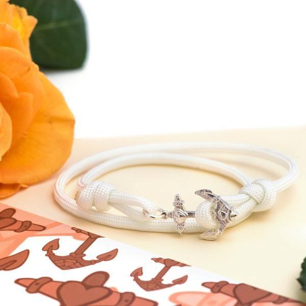 Silver Anchor Tattoo Bracelet - White