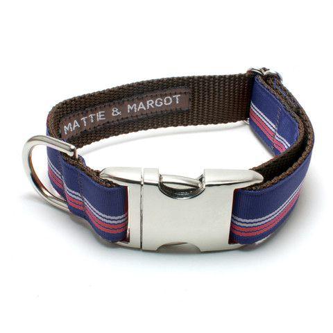 Mattie & Margot Retro Stripe Navy/White/Red Dog Collar From $31.95
