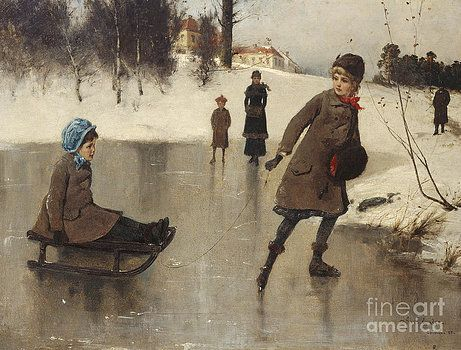 Bilde fra http://render.fineartamerica.com/images/images-profile-flow/350/images-medium-large-5/children-with-sledge-in-front-of-bogstad-farmbogs-axel-ender.jpg.
