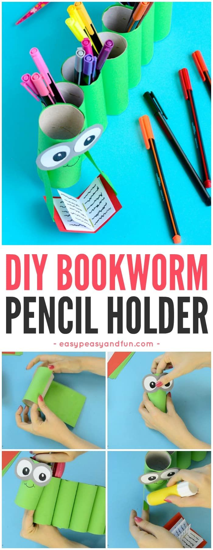 DIY Bookworm Papel Roll Lápiz titular Volver a la escuela Artesanía para niños