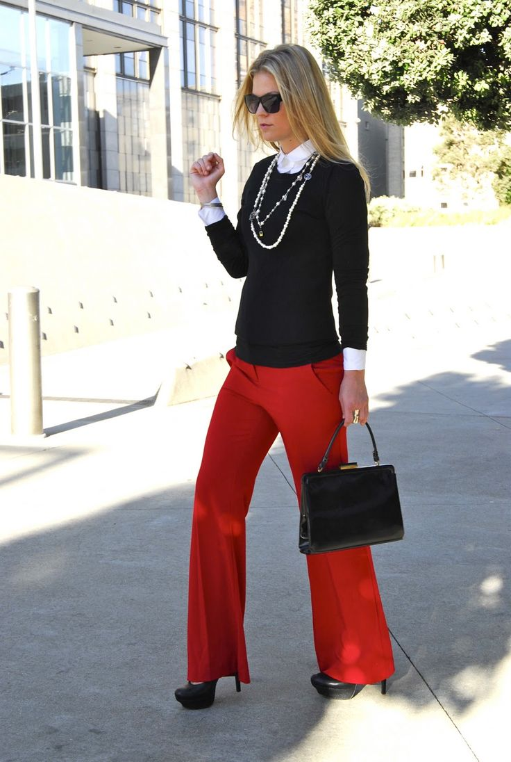 Simple Fashion Red Outfit Bright Red Pants Created By Daiscat One Year Ago