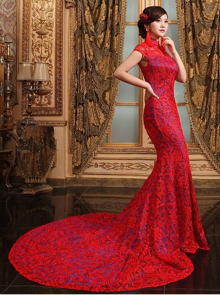 Textured Lace Mermaid Qipao Gown Sweep Train