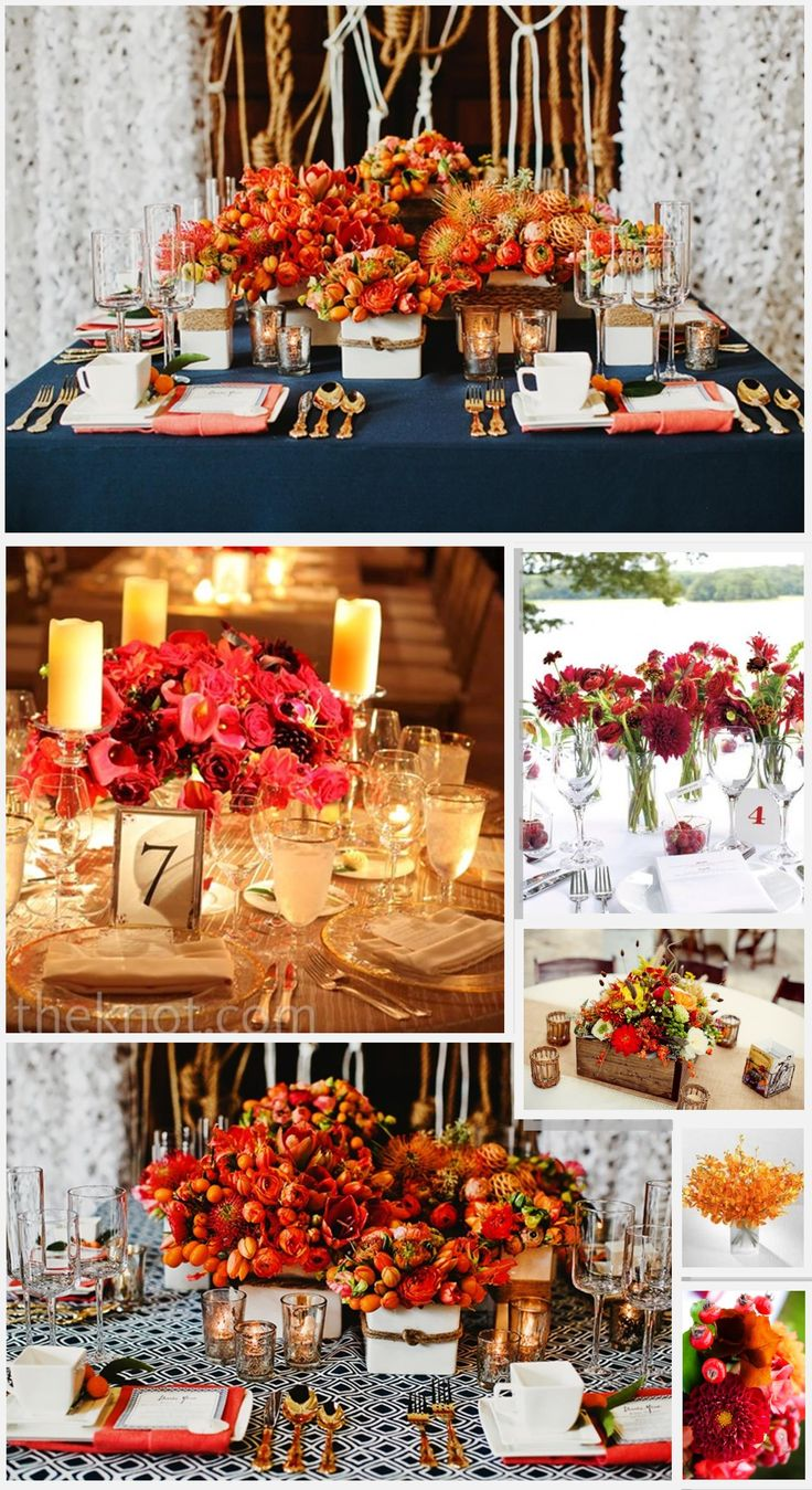 Our Wedding Colors Are Red Navy Blue And Orange So The Tables And Centerpieces Have To Really