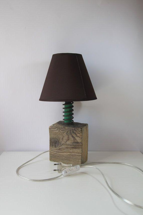 Handmade wooden lamp with dark brown lampshade