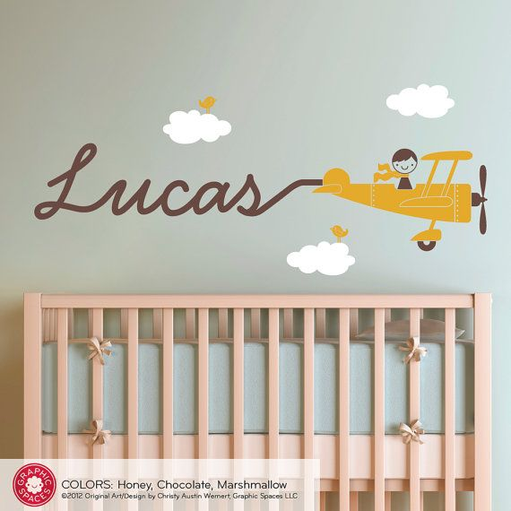 Airplane name decal boy skywriter baby nursery travel for Baby room decoration wall stickers