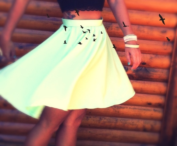 High Waisted Self Made Green Skirt