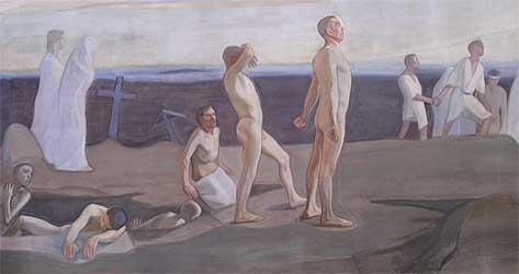Magnus Enckell Ylösnousemus - The resurrection, detail