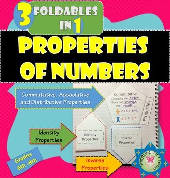 Foldable Properties of NumbersThese are 3 foldables in 1. (you will need 2 pages in case you want to use the 3 of them)Page 1: One for the Commutative, Associative, and Distributive Properties.Page 2: One for Inverse properties of addition and multiplication, and one for Identity properties of addition and multiplication.Students can learn about the properties by filling  in the blanks and providing their own examples.Notes for teachers with some examples are included.Pictures about how to…