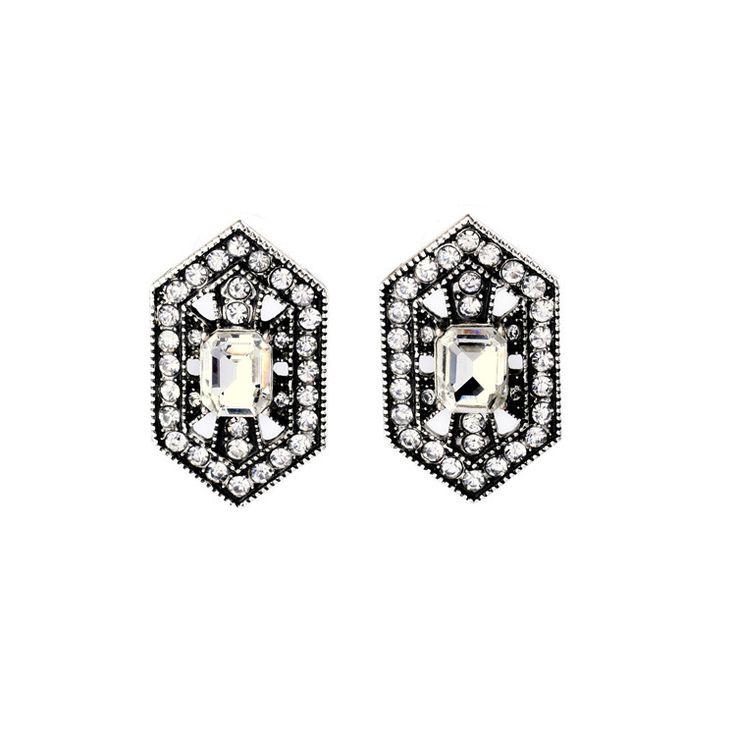Moda Antigua Romántica Rodio Glamorous Deslumbrante Diseño Art Deco de Cristal Stud Pendientes para La Joyería de La Boda Regalo en Stud Pendientes de Joyas y Accesorios en AliExpress.com   Alibaba Group