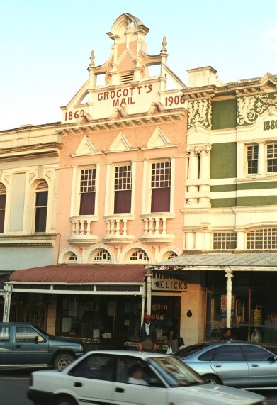 Victorian buildings, Grahamstown, South Africa. This building is the home of oldest newspaper in the country, Grocott's Daily Mail.