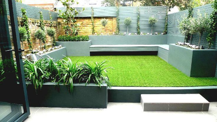 Modern Small Low Maintenance Garden Fake Grass Grey Raised B Contemporary Garden Design Back Garden Design Courtyard Gardens Design