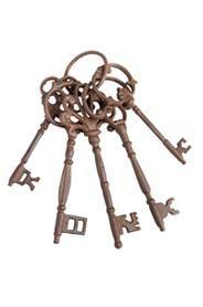 Öntöttvas kulcskarika dekoráció antik barna színben.Mérete: magasság: 27 cm, szélesség: 8 cm, mélység:6 cmSúlya: 0,82 kg