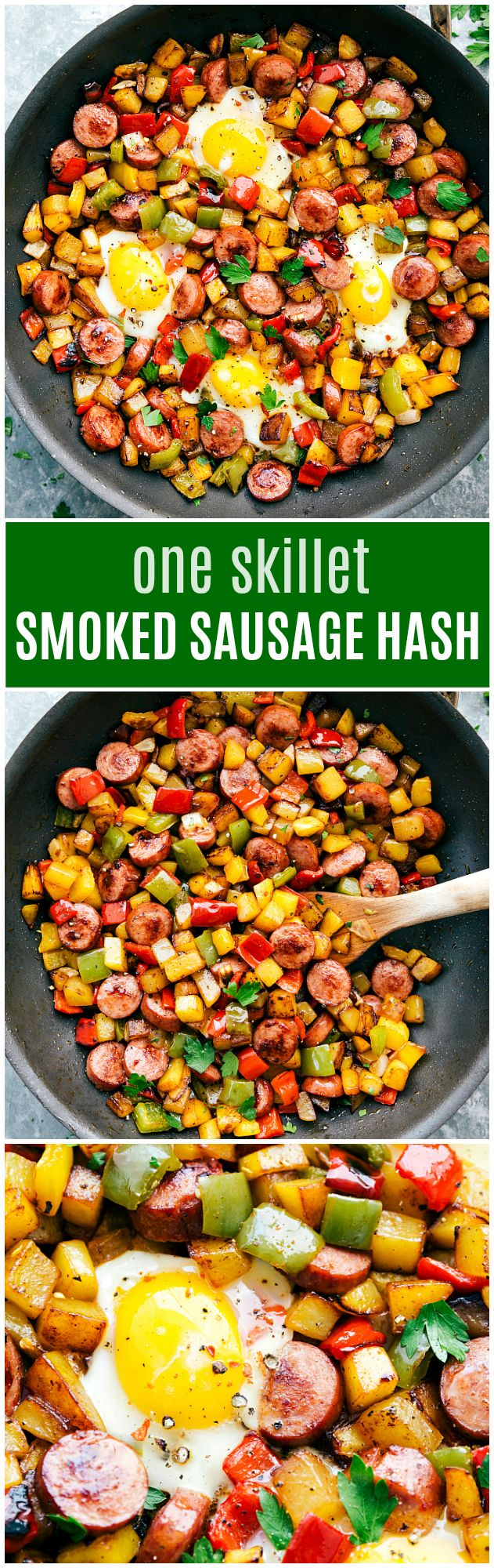 The best ONE SKILLET sausage and veggie hash!! A super simple, one skillet, smoked turkey sausage and veggie hash (and eggs if you want!) A great meal anytime of the day!
