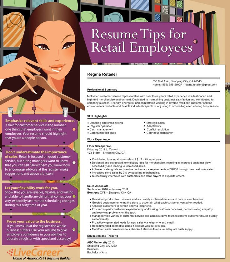 44 best Resume tips ideas images on Pinterest Resume tips - retail resume