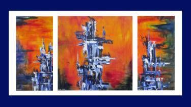 "Saatchi Art Artist Maryse Lapointe; Painting, ""Blue Totems / Les Totems bleus"" - 2016, #art, #art, #oiloncanvas, #abstract, #abstractexpressionism, #riopelle, #georgesmathieu, #artquebecois, #music, #oilpainting, #artistequébécoise, #abstrait, #expressionnismeabstrait, #maryselapointe, #saisons, #seasons, #dekooning, #borduas, #automatisme,  #tableauàl'huile, #totem, #inukshuk, http://maryselapointe.net/"