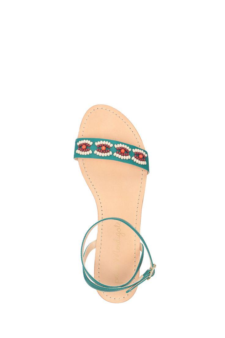 Sandales vertes détails perles cuir Cigale Petite Mendigote sur MonShowroom.com