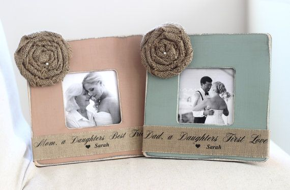 Wedding Gifts for Parents Thank You Gift Personalized Picture Frame Burlap Rustic Wedding Mother of Bride Father of Bride on Etsy, £32.52