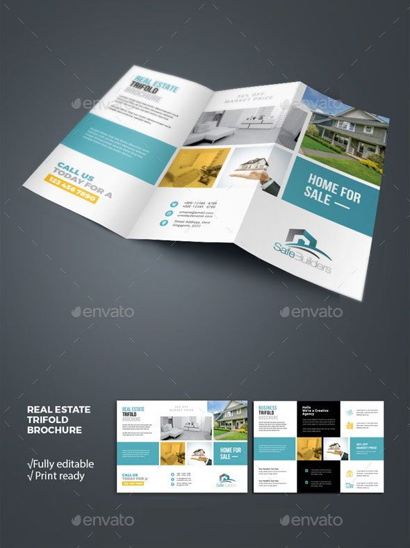 real estate tri fold brochure template is editable text logo